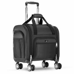 "15.5"" Spinner Underseat Bag 4 Wheeled Carry On Luggage Rolli"