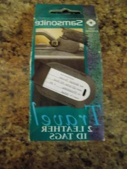 2 Samsonite Luggage Tags Black Leather Travel ID Tags New in