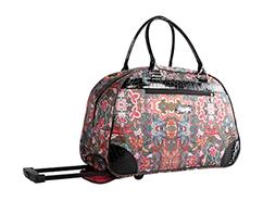 22 Inch Rolling Carry On Printed Wheeled Duffel Luggage Flor