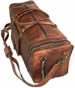"30"" Inch Real Goat Vintage Leather Large Handmade Travel Lug"
