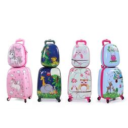 2Pcs Carry On Luggage With Wheels Kids Rolling Suitcase Back