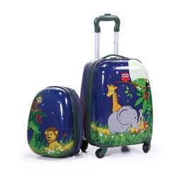 2Pc  Kids Carry On Luggage Set Hard Upright Side Hard Shell