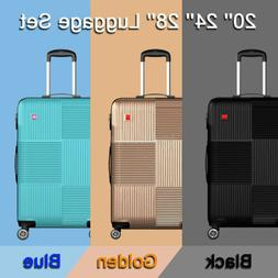 3 Piece Luggage sets Lightweight Durable Spinner Suitcase Ca