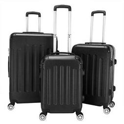 Black 3 Pieces Travel Luggage Set Bag ABS Trolley Carry On S