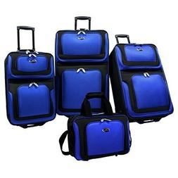4 Piece Royal Blue Lightweight Expandable Rolling Luggage Se