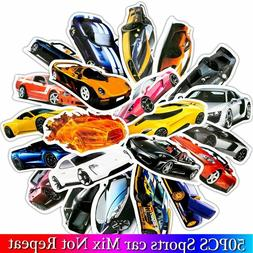 50pcs Sports Car Model Stickers Car Fan Stickers for Luggage