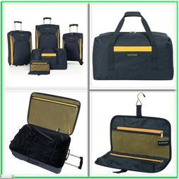 Nautica 5pc Luggage Set Navy Yellow Suitcase Travel Bags New