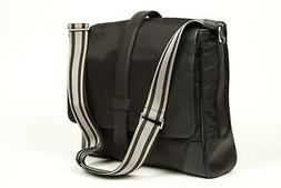 Canali $795 NWT Black Nylon Leather Carry-On Briefcase Attac