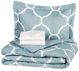5-Piece Bed-In-A-Bag - Twin/Twin Extra-Long, Dusty Blue Trel