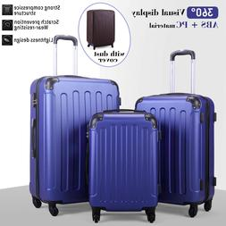 3 Piece Luggage sets Lightweight Durable Spinner Suitcase AB