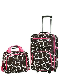 Rockland Expandable Pink Giraffe 2-piece Lightweight Carry-o