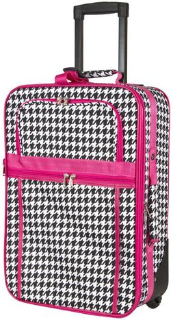 Houndstooth Carry On Luggage Suitcase Travel Small Rolling W