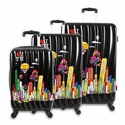 J World New York Ilny Cityscape Ii 3 Piece Luggage Set, Blac