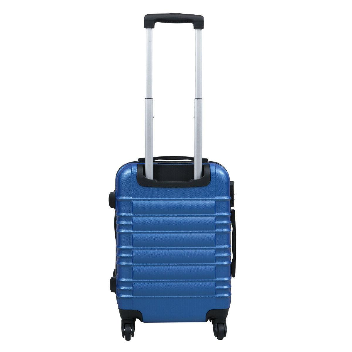 """20"""" ABS Luggage Hardside Nested Trolley Suitcase Blue"""
