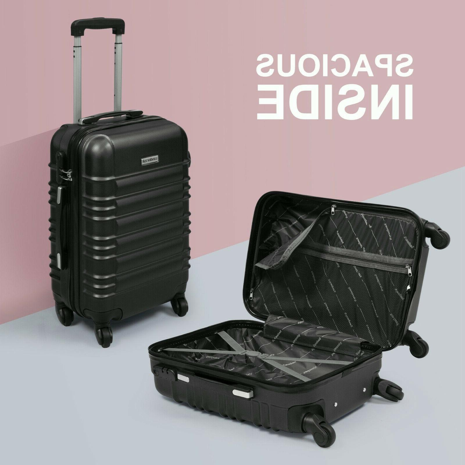 "20"" ABS Luggage Travel Suitcase Black"
