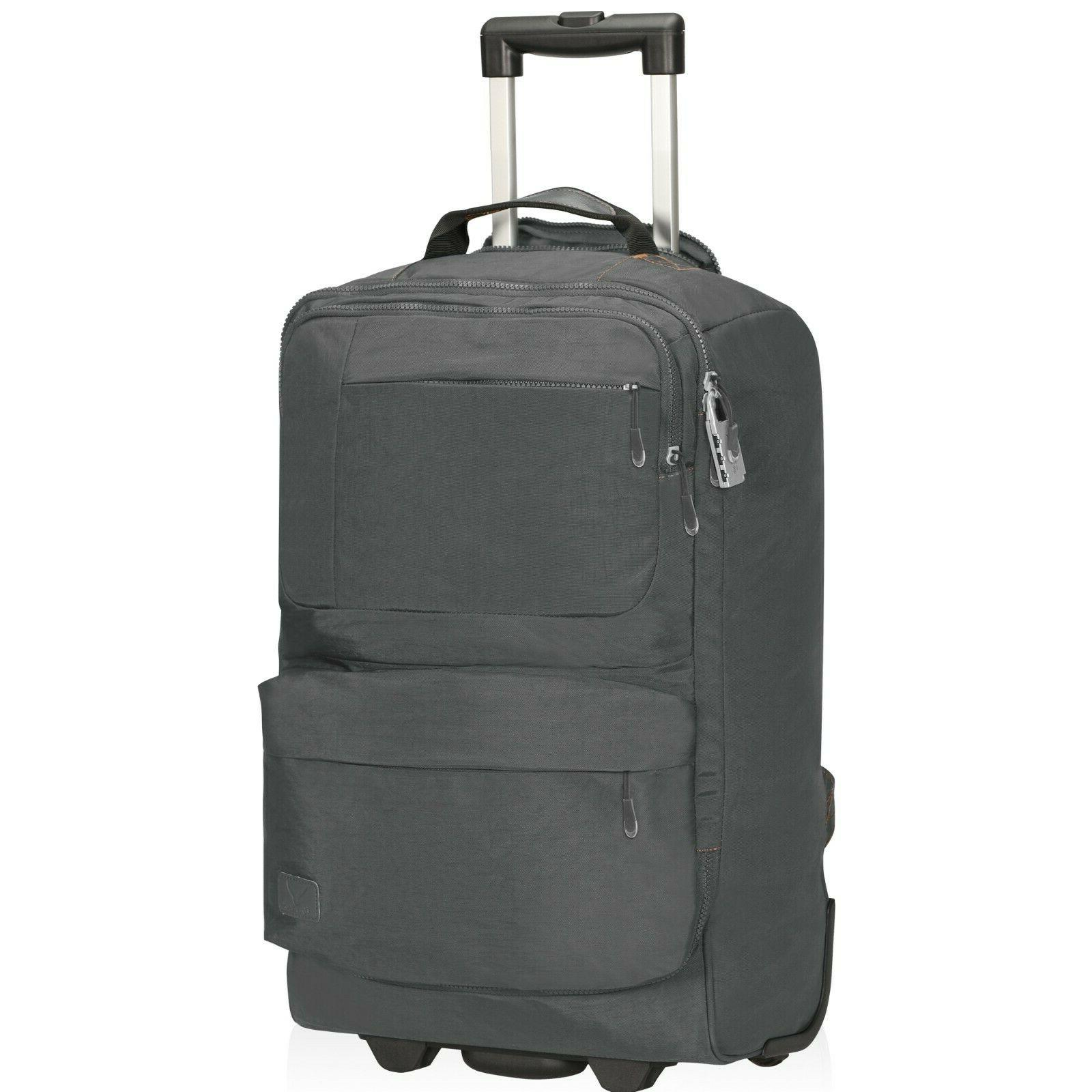 """22"""" Rolling Backpack Carry on Luggage Cabin Approved Upright"""
