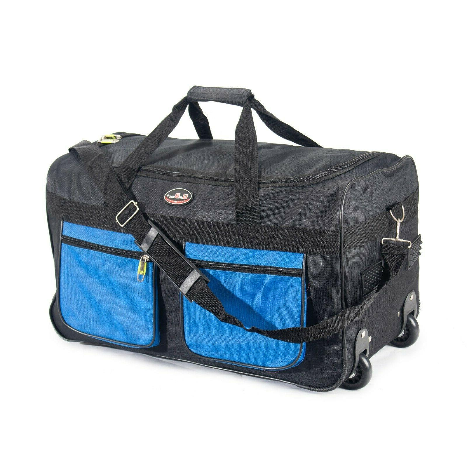 "22"" Rolling Wheeled Bag Carry Travel Suitcase Lighweight"