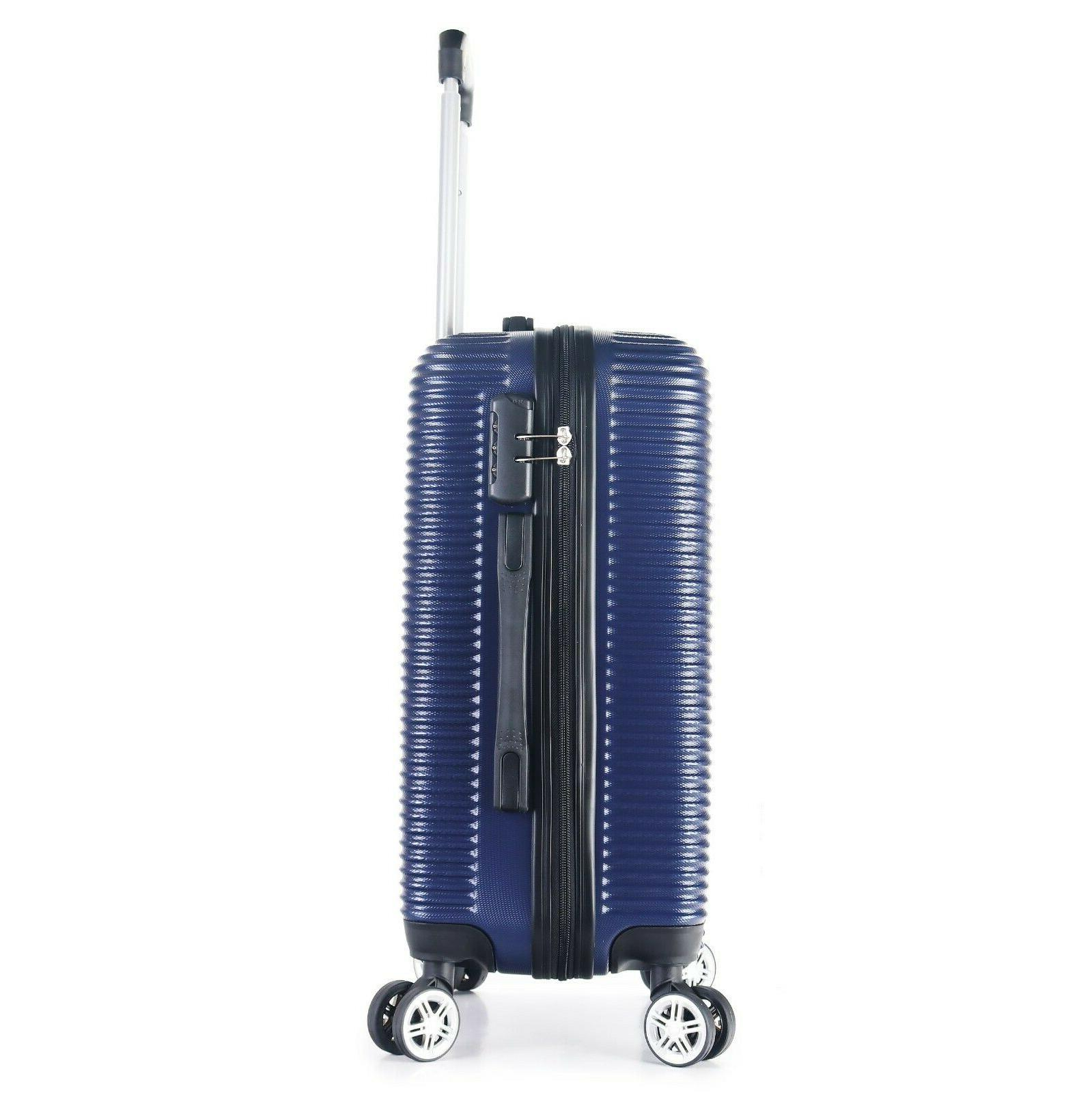"""22"""" Carry-On Luggage Hard Lightweight Case Wheels 360 Degrees Blue"""