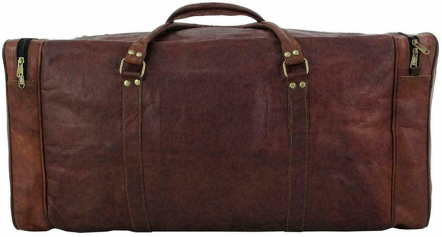 """25"""" Vintage Men Real Leather Luggage S Travel Duffel Gym"""