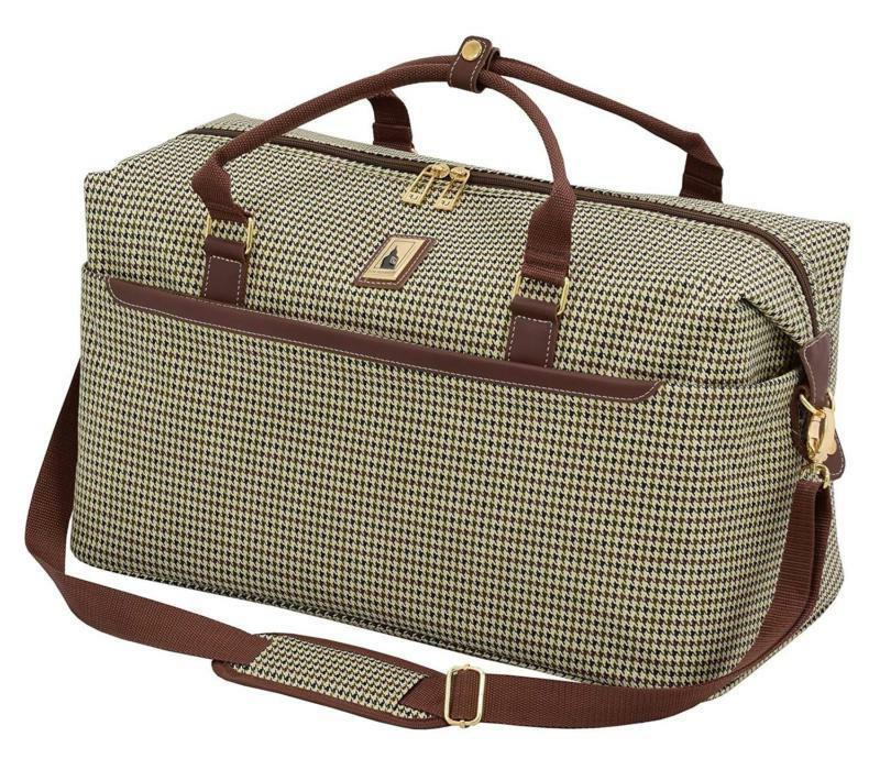 London Duffle Carry Travel Bag Olive Houndstooth Spacious