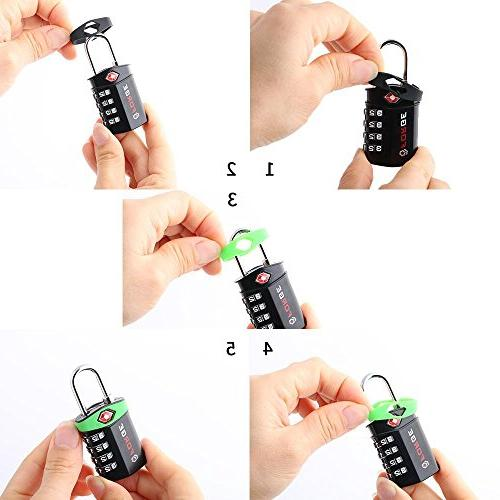4 Digit Luggage Lock, 4 Pack, Change Own Color and Alloy