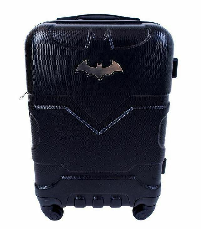 Hard Carry On Luggage Batman Rolling Suitcase Black Durable