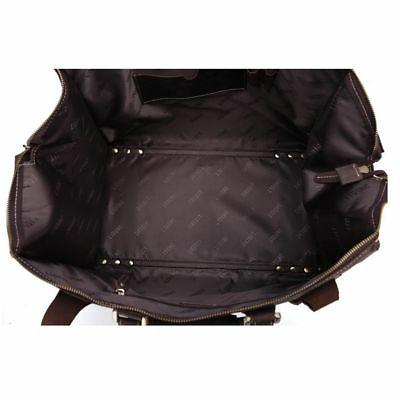 Large Leather Luggage Travel Camp Carry On Shoulder