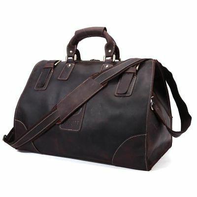 large genuine leather vintage luggage travel camp