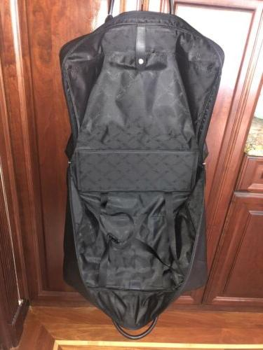 NWT BLACK LEATHER CARRY-ON SUITCASE LUGGAGE DUST BAG PARIS