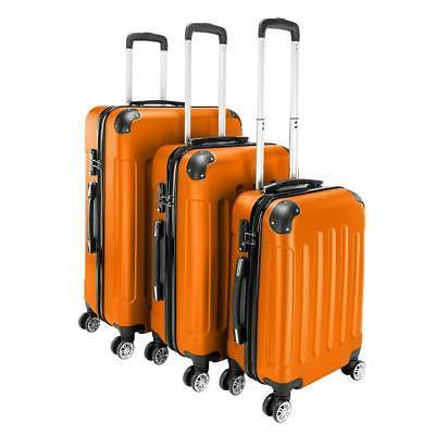 orange 3 pieces travel luggage set bag