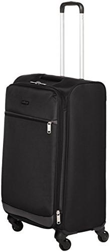 AmazonBasics Softside Spinner Luggage, 25-inch, Black