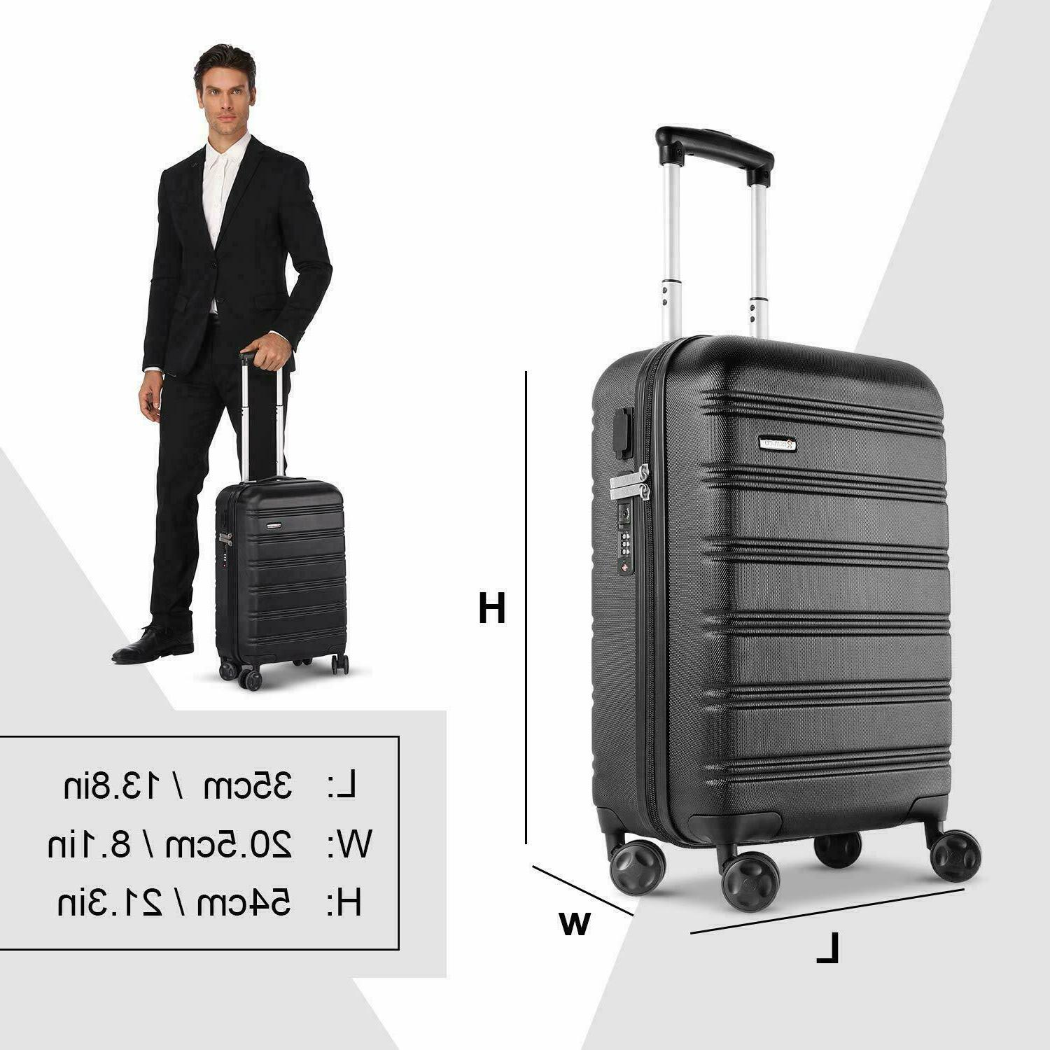 REYLEO USB Charging Luggage 20in PC+ABS Carry on
