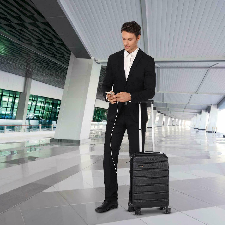 REYLEO USB Charging Luggage 20in Luggage