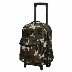Rockland Luggage 17 Inch Rolling Backpack, Camouflage, Mediu