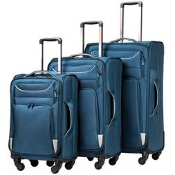 Coolife Luggage 3 Piece Set Suitcase Spinner Softshell blue+