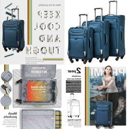 Luggage 3-Piece Set Suitcase Spinner Softshell lightweight T