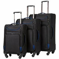 Coolife Luggage 3 Piece Set Suitcase Spinner Softshell light
