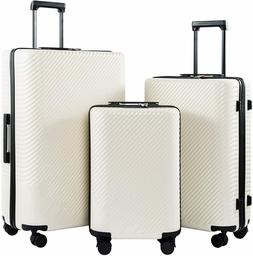 Coolife Luggage 3 Piece Sets PC+ABS Spinner Suitcase carry o