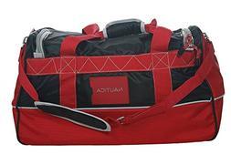 Nautica Luggage Dockside 22 Inch Duffle Bag, Black/Red/Silve