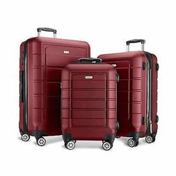 SHOWKOO Luggage Sets Expandable PC+ABS Durable Suitcase Doub