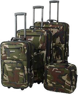Rockland Luggage Skate Wheels 4 Piece Luggage Set, Camouflag