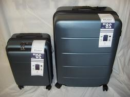 COOLIFE Luggage Suitcase Carry On ABS+PC 2-piece Set Slate B