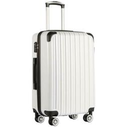 """COOLIFE Luggage Suitcase PC ABS Spinner 20"""" White Grid New C"""
