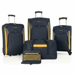Nautica Open Seas 5 Piece Luggage Set, Navy/yellow