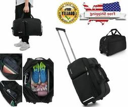 Rolling Duffel Bag, Water Repellent Wheeled Duffel Carry On