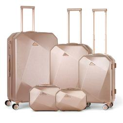Set of 5 Pcs Travel Spinner Luggage Set ABS Trolley Carry On