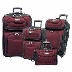 Traveler'S Choice Amsterdam 4-Piece Luggage Set, Red/ Black