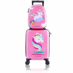 Unicorn Kids Carry On Luggage Set With Spinner Wheels Girl T