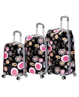 Rockland Vision Black/ Pink Flower 3-pc Hardside Spinner Lug