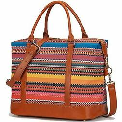 Women Ladies Weekender Travel Bag Canvas Overnight Carry-on